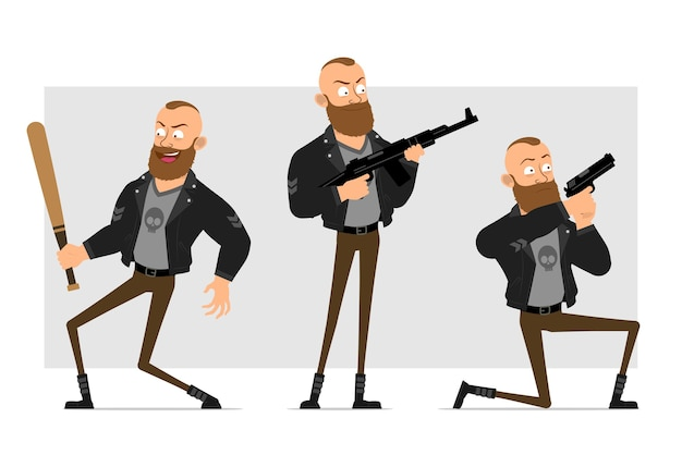 Kreskówka płaski silny charakter brodaty mężczyzna punk z irokezem w skórzanej kurtce. chłopiec trzyma kij baseballowy, strzelanie z pistoletu i karabinu.