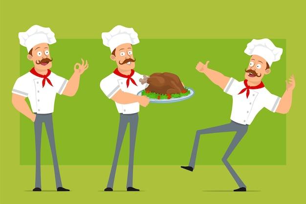 Kreskówka płaski silny kucharz postać człowieka w białym mundurze i kapeluszu piekarza. chłopiec trzyma smażonego kurczaka i pokazuje kciuk do góry znak.