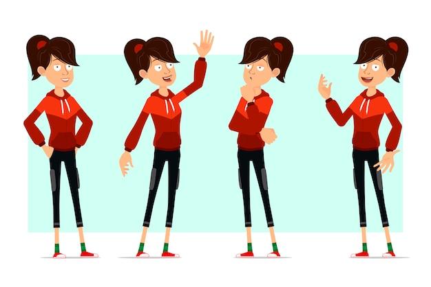 Kreskówka płaski sport dziewczyna duży zestaw znaków