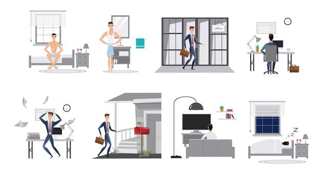 Kreskówka płaski styl człowieka dzień w życiu, pracy biurowej lub pracy w domu. plansza rutynowy dzień.