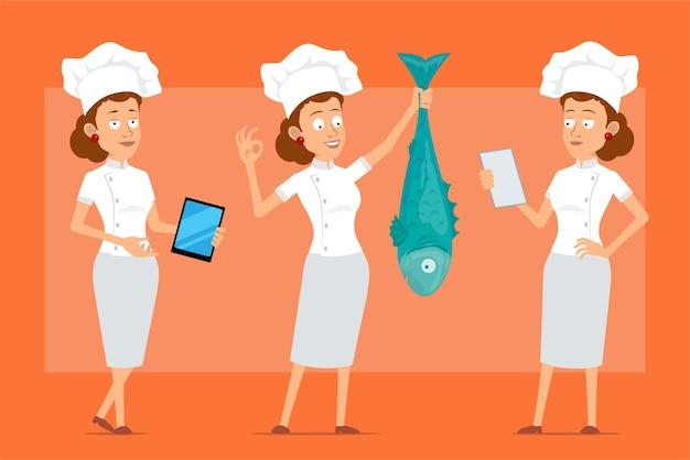 Kreskówka płaski zabawny kucharz kucharz kobieta postać w białym mundurze i kapeluszu piekarza. dziewczyna czytająca, pokazująca znak ok i trzymająca dużą rybę.