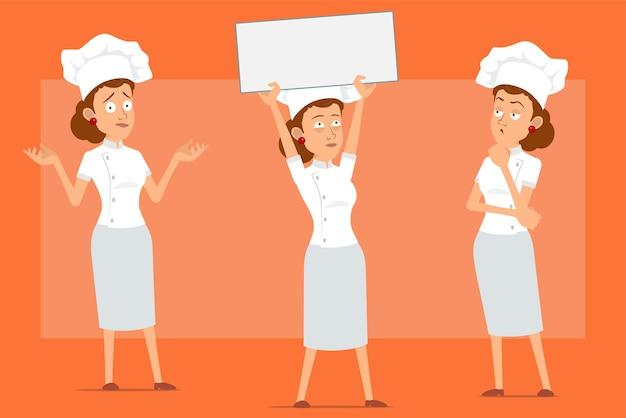 Kreskówka płaski zabawny kucharz kucharz kobieta postać w białym mundurze i kapeluszu piekarza. dziewczyna nieporozumienie, trzymając pusty znak i myśli.