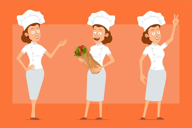 Kreskówka płaski zabawny kucharz kucharz kobieta postać w białym mundurze i kapeluszu piekarza. dziewczyna trzyma smaczny kebab shawarma i pokazuje znak pokoju.
