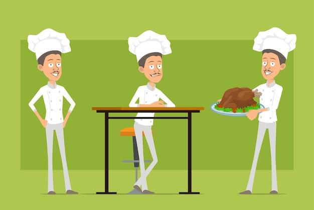 Kreskówka płaski zabawny kucharz kucharz postać człowieka w białym mundurze i kapeluszu piekarza. mężczyzna niosący smacznego smażonego indyka lub kurczaka.