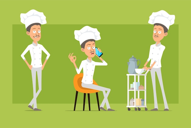 Kreskówka płaski zabawny kucharz kucharz postać człowieka w białym mundurze i kapeluszu piekarza. mężczyzna rozmawia przez telefon i chodzenie przy stoliku hotelowym.