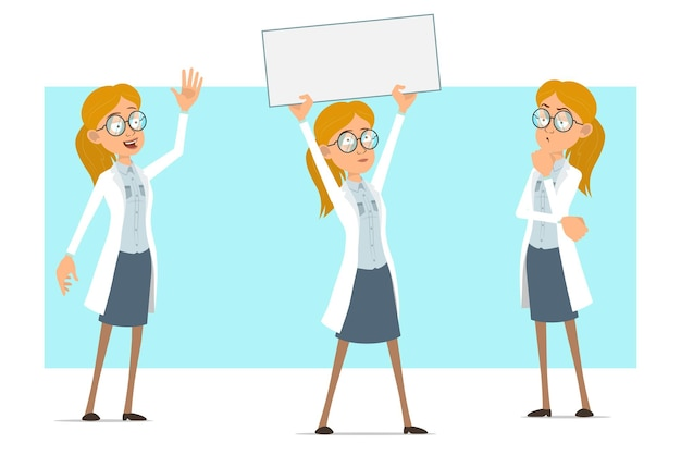 Kreskówka płaskie śmieszne blondynka lekarz postać kobiety w białym mundurze i okularach. dziewczyna myśli i trzyma pusty znak papieru dla tekstu.