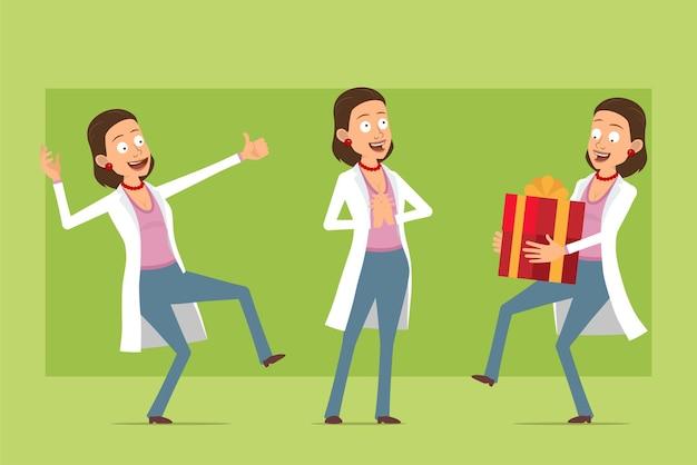 Kreskówka płaskie śmieszne lekarz postać kobiety w białym mundurze. dziewczyna niosąc prezent świąteczny nowego roku i pokazując kciuk do góry gest. gotowy do animacji. na białym tle na zielonym tle. zestaw.