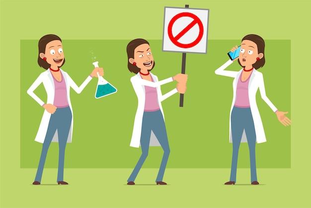 Kreskówka płaskie śmieszne lekarz postać kobiety w białym mundurze. dziewczyna rozmawia przez telefon i nie trzyma znaku stopu wejścia. gotowy do animacji. na białym tle na zielonym tle. zestaw.