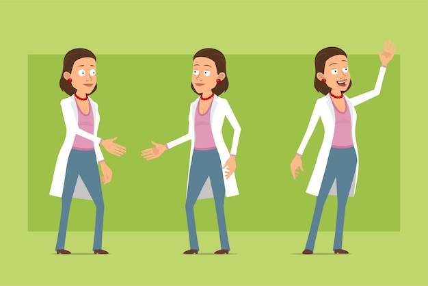Kreskówka płaskie śmieszne lekarz postać kobiety w białym mundurze. dziewczyna, ściskając ręce i pokazując powitalny gest. gotowy do animacji. na białym tle na zielonym tle. zestaw.