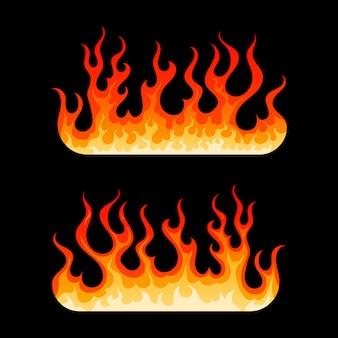 Kreskówka płonącego ogniska gorący płonący płomień ognia
