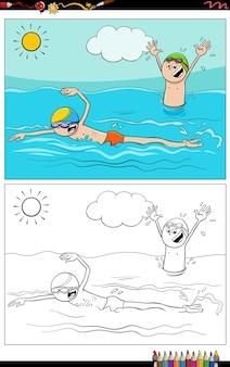 Kreskówka pływanie chłopcy znaków grupa kolorowanka strona