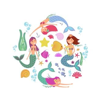 Kreskówka pływanie syrenki i morskie zwierzęta podwodne wektor zbiory