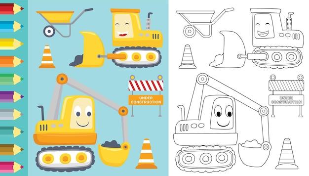 Kreskówka pojazdów budowlanych ze znakami budowlanymi i taczką, kolorowanka lub strona
