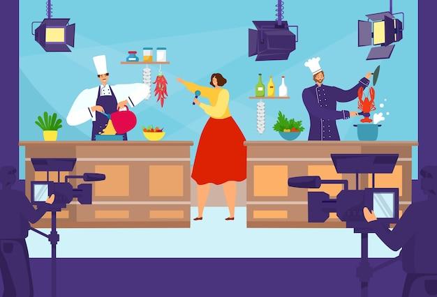 Kreskówka pokaz konkursu kucharz gotowania