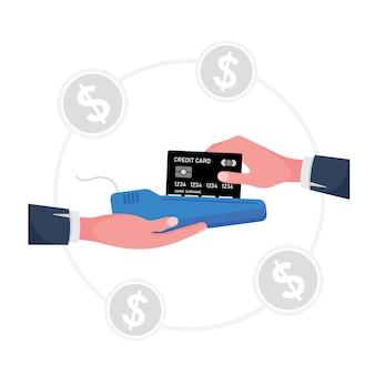 Kreskówka pokazująca swipe kredytową kartę przedstawia dłoń trzymającą maszynę, podczas gdy druga ręka trzyma kartę