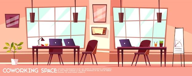 Kreskówka pokój biurowy, coworking z miejscami pracy, biurkami, dużymi oknami.