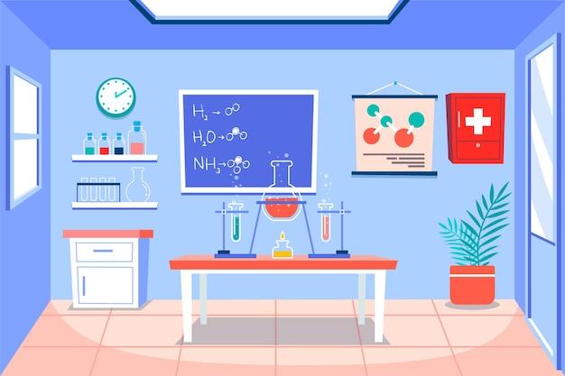 Kreskówka pokój laboratoryjny z kolbą