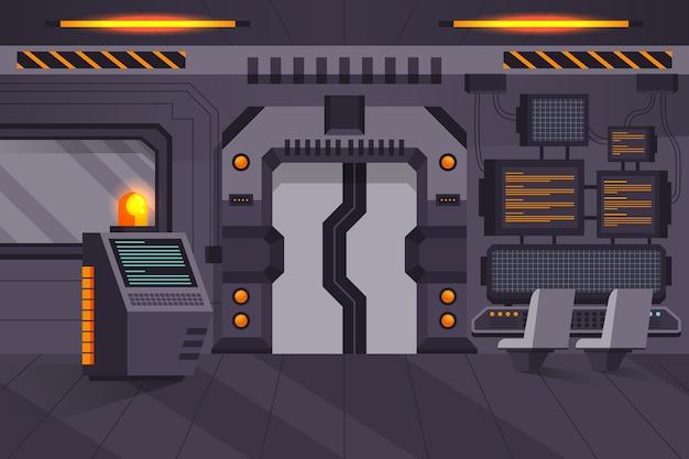 Kreskówka pokój laboratoryjny z maszyną