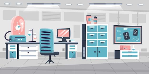 Kreskówka pokój laboratoryjny z wyposażeniem