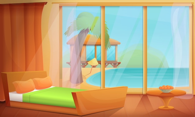 Kreskówka pokój z widokiem na ocean w zwrotnikach, wektorowa ilustracja