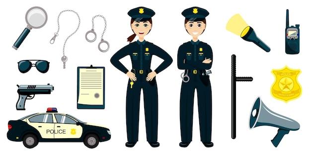Kreskówka policja. chłopiec i dziewczynka w garniturach patrolowych, radiowóz. komplet, od, rysunek