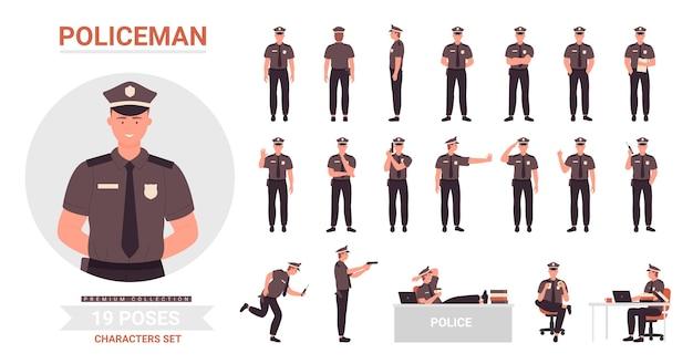 Kreskówka policjant postać człowieka pracującego w biurze lub postawy ulicy
