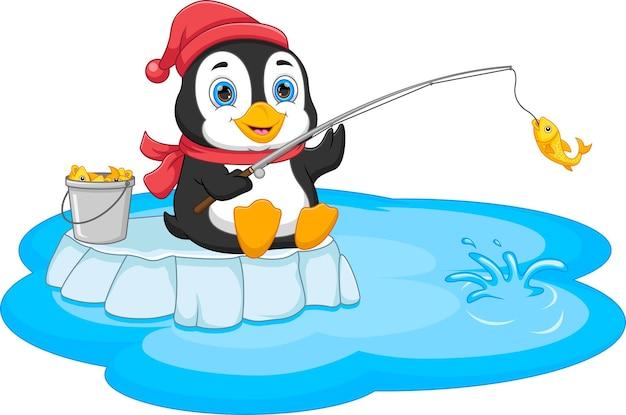 Kreskówka połowów pingwina na białym tle