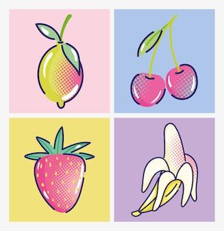 Kreskówka pop-art, owoce truskawka wiśnia banan i mango, komiksowy projekt półtonów