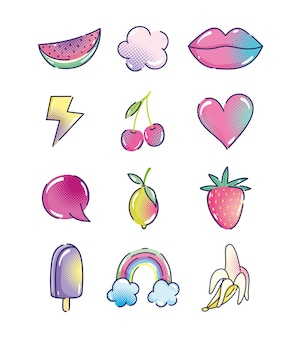 Kreskówka pop-art, półtonów moda retro owoce usta serce tęcza lody ikony
