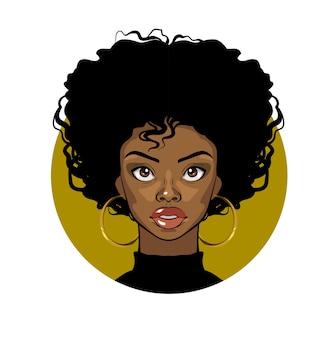 Kreskówka portret afroamerykańskiej dziewczyny z kręconymi włosami, dużymi oczami i złotymi kolczykami