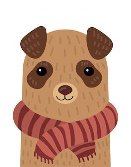 Kreskówka portret psa w szaliku. ilustracja zwierzęcia na pocztówkę.