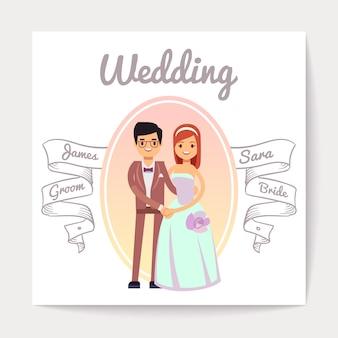 Kreskówka poślubiająca lub angażująca pary panny młodej i pana młodego ślubu wektoru karta.