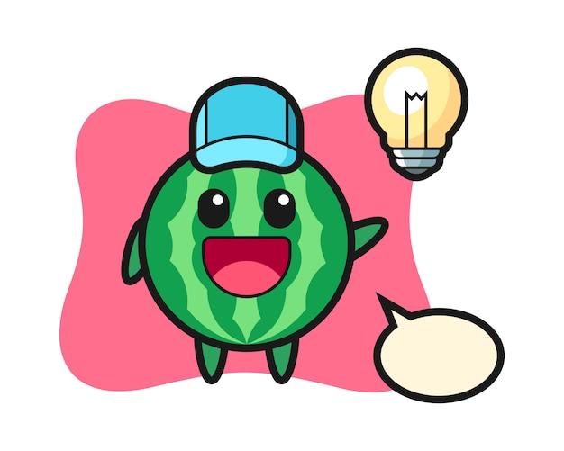 Kreskówka postać arbuza wpada na pomysł