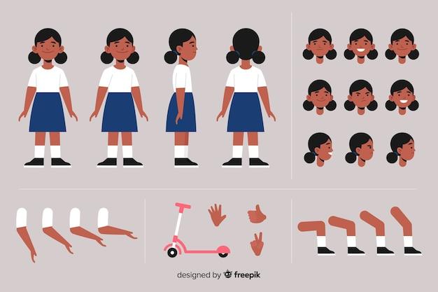 Kreskówka postać dziewczyny szablon