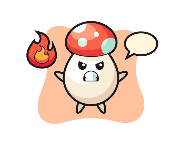 Kreskówka postać grzyba z gniewnym gestem, ładny styl na koszulkę, naklejkę, element logo