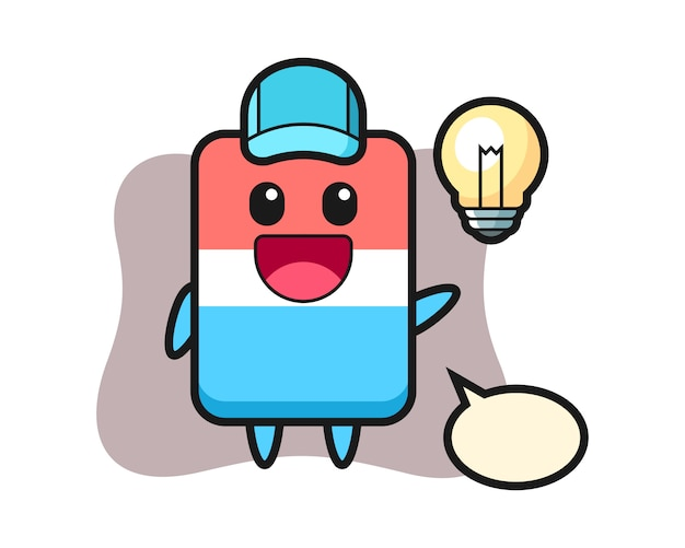 Kreskówka postać gumki wpada na pomysł, ładny styl, naklejka, element logo