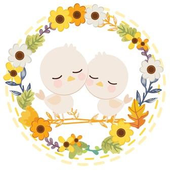 Kreskówka postać ładny biały królik siedzi w kwiat.