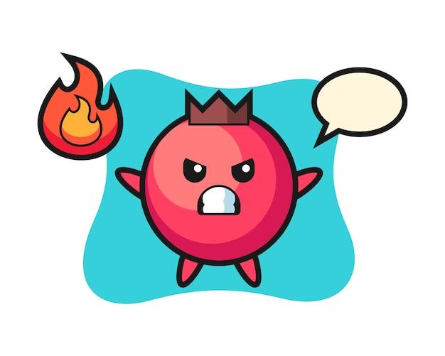 Kreskówka postać żurawiny z gniewnym gestem, ładny styl, naklejka, element logo