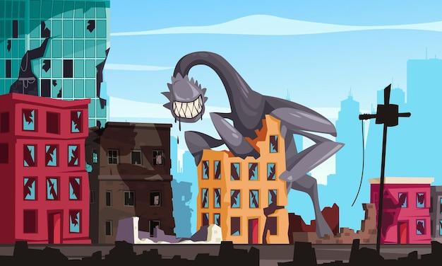 Kreskówka potwór z dużymi zębami niszczącymi ilustrację budynków miejskich