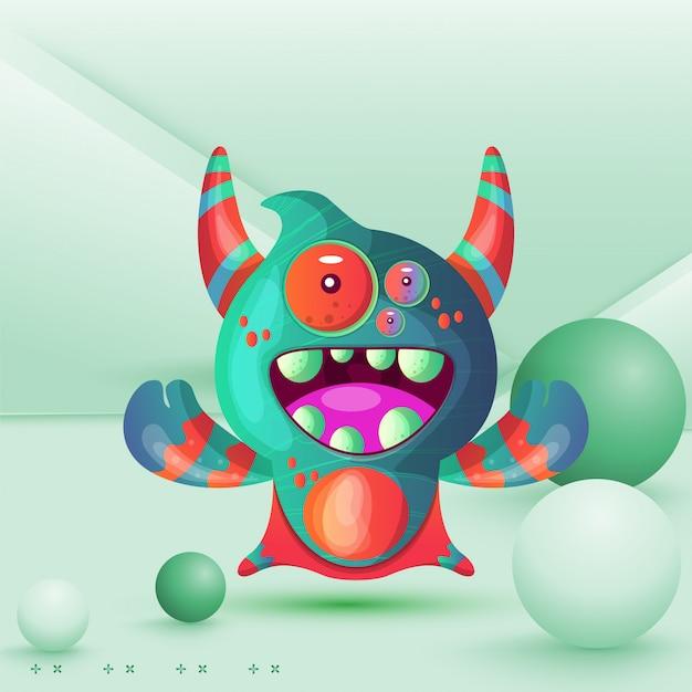 Kreskówka potwór z rogami z jednym okiem