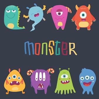 Kreskówka potwory. wektor zestaw potworów kreskówek: gąsienica, duch, goblin, bigfoot, mikrob i obcy. postacie halloween są izolowane
