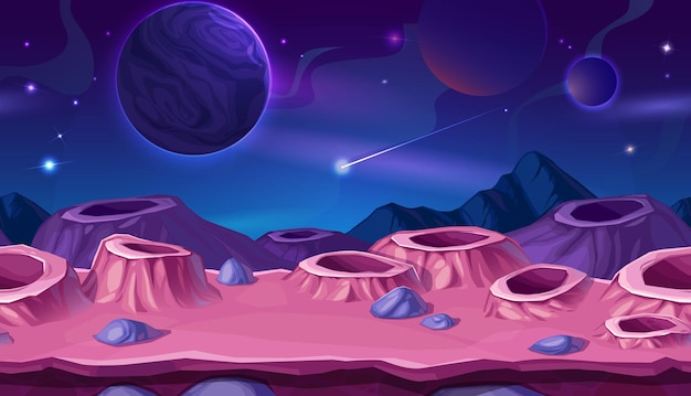 Kreskówka powierzchnia planety z kraterami. obcy krajobraz z różowymi lub fioletowymi kraterami, spadającą kometą w kosmosie i sferami planet we wszechświecie.