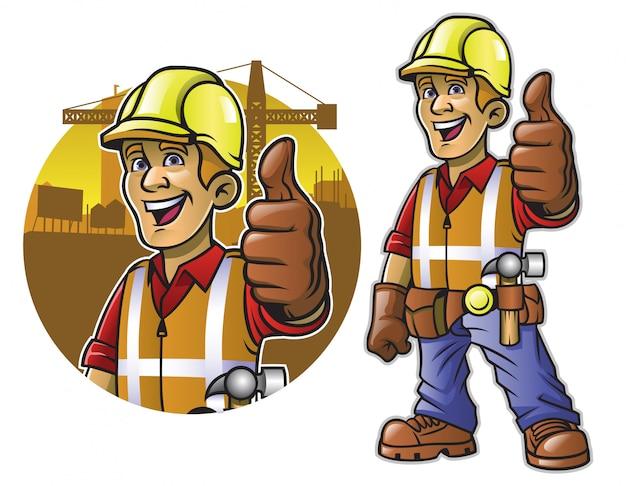 Kreskówka pracownik budowlany z kciukiem do góry ręką