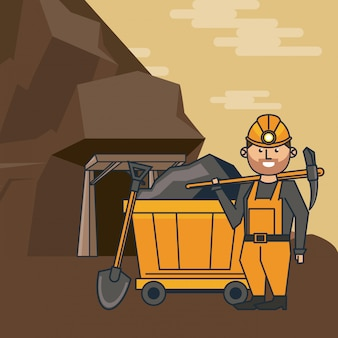 Kreskówka pracownik górnictwa