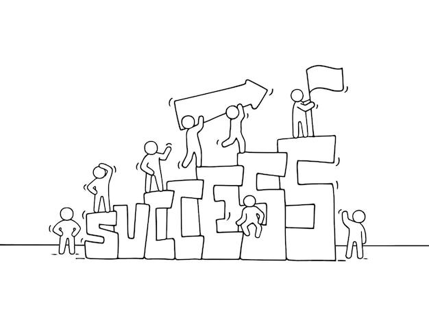 Kreskówka pracujący mali ludzie ze słowem sukces. ręcznie rysowane kreskówki