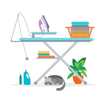 Kreskówka pralnia prasowanie prace domowe, ubrania i sprzęt do wnętrz płaski styl. ilustracja wektorowa