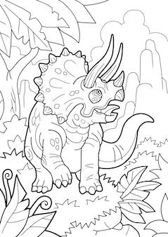 Kreskówka prehistoryczny triceratops dinozaura, kolorowanka, zabawna ilustracja