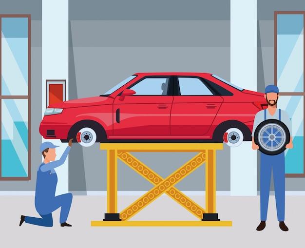 Kreskówka produkcji serwisu samochodowego