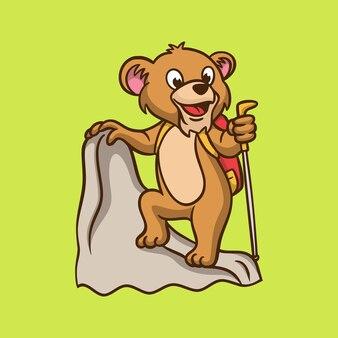 Kreskówka projekt dla dzieci lew wspinaczka logo słodkie maskotki