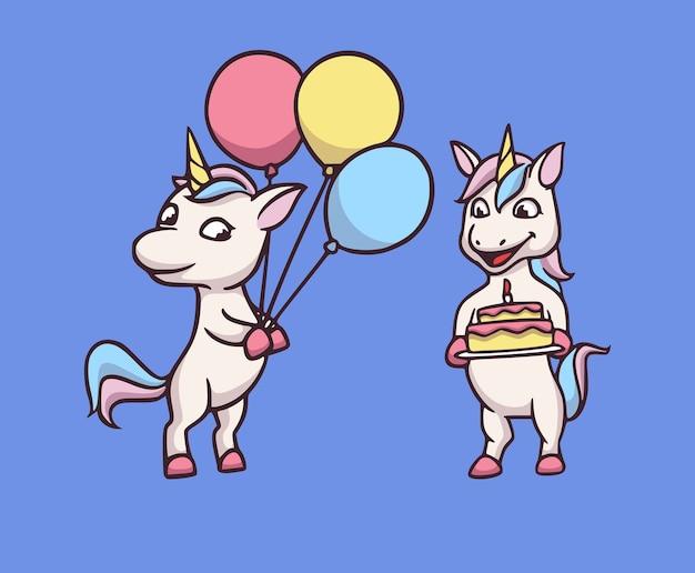 Kreskówka projekt jednorożca trzyma balony i tort urodzinowy śliczna maskotka ilustracja
